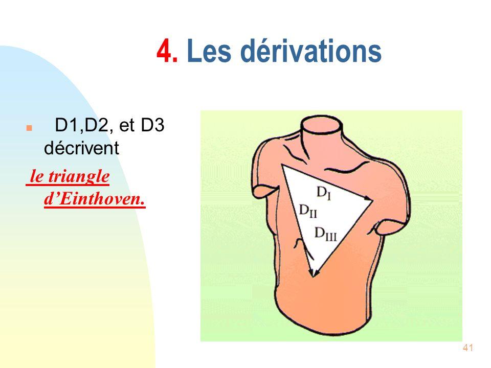 41 4. Les dérivations n D1,D2, et D3 décrivent le triangle dEinthoven.