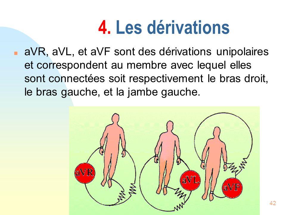 42 4. Les dérivations n aVR, aVL, et aVF sont des dérivations unipolaires et correspondent au membre avec lequel elles sont connectées soit respective