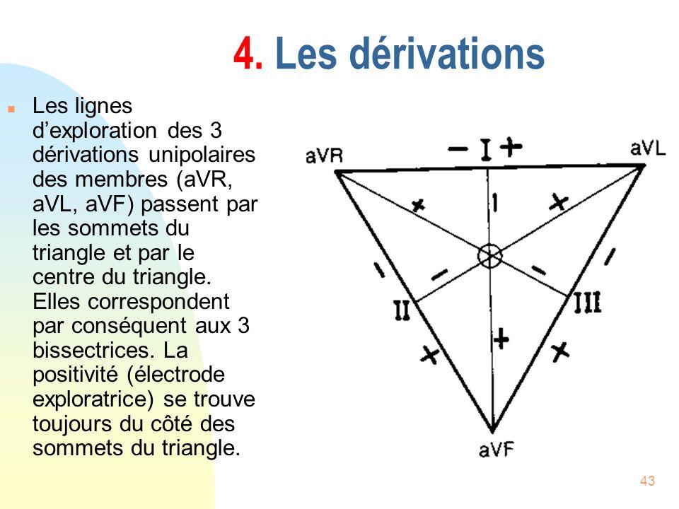 43 4. Les dérivations n Les lignes dexploration des 3 dérivations unipolaires des membres (aVR, aVL, aVF) passent par les sommets du triangle et par l