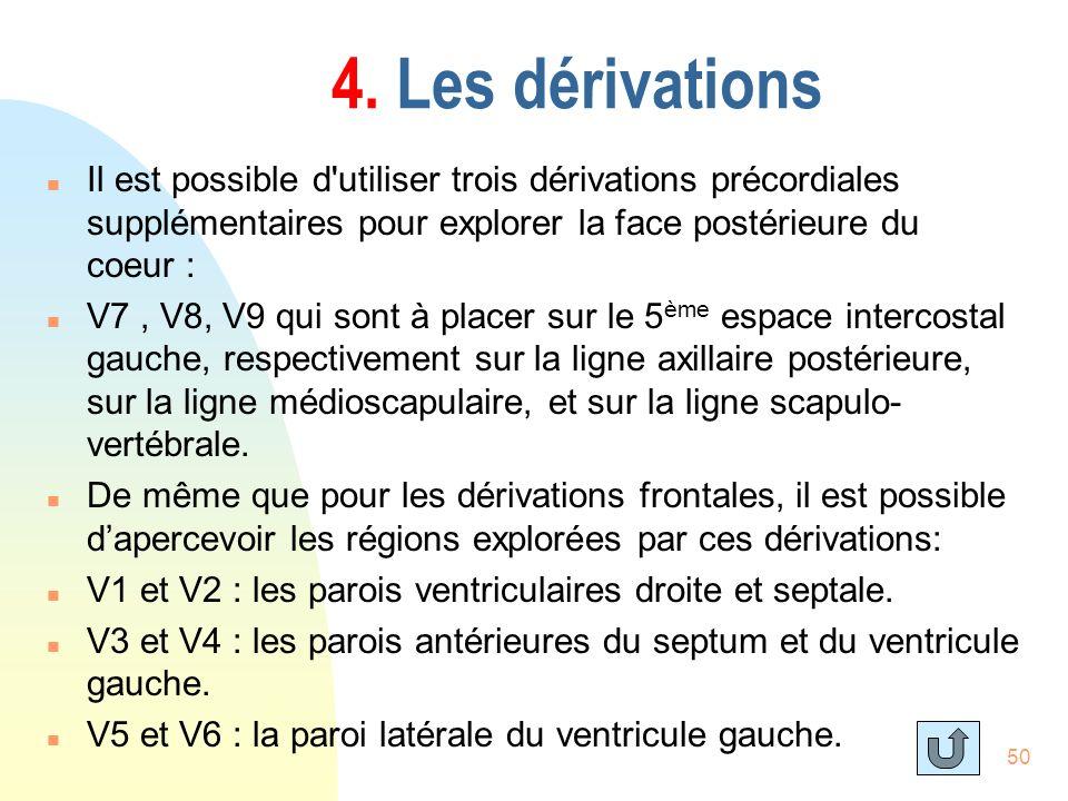 50 4. Les dérivations n Il est possible d'utiliser trois dérivations précordiales supplémentaires pour explorer la face postérieure du coeur : n V7, V