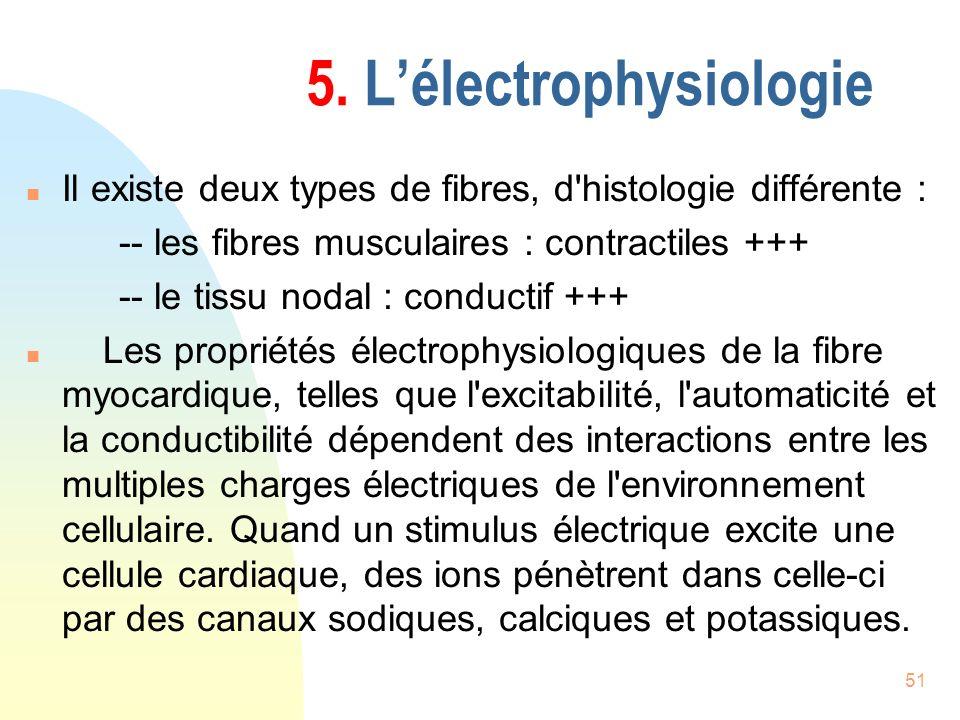 51 5. Lélectrophysiologie n Il existe deux types de fibres, d'histologie différente : -- les fibres musculaires : contractiles +++ -- le tissu nodal :