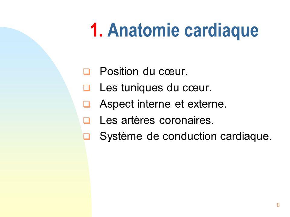 8 1. Anatomie cardiaque Position du cœur. Les tuniques du cœur. Aspect interne et externe. Les artères coronaires. Système de conduction cardiaque.