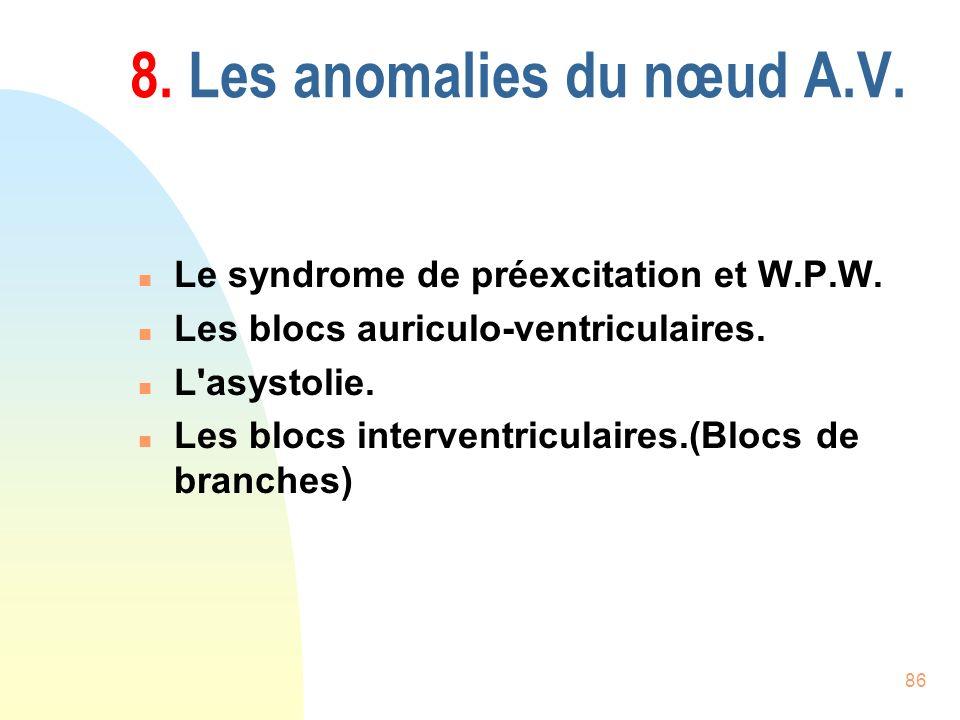 86 8. Les anomalies du nœud A.V. n Le syndrome de préexcitation et W.P.W. n Les blocs auriculo-ventriculaires. n L'asystolie. n Les blocs interventric