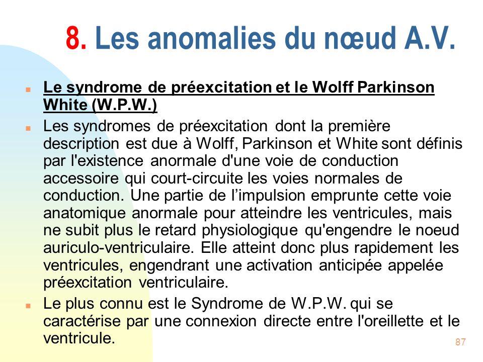 87 8. Les anomalies du nœud A.V. n Le syndrome de préexcitation et le Wolff Parkinson White (W.P.W.) n Les syndromes de préexcitation dont la première