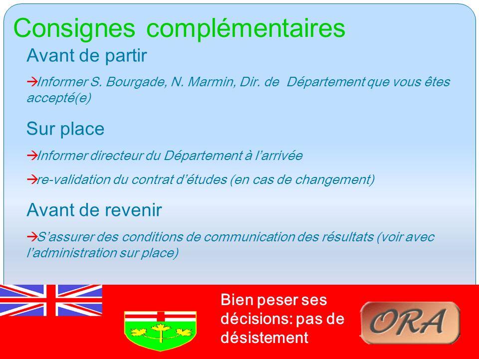 Consignes complémentaires Canada – CREPUQ - ONTARIO Avant de partir à Informer S.