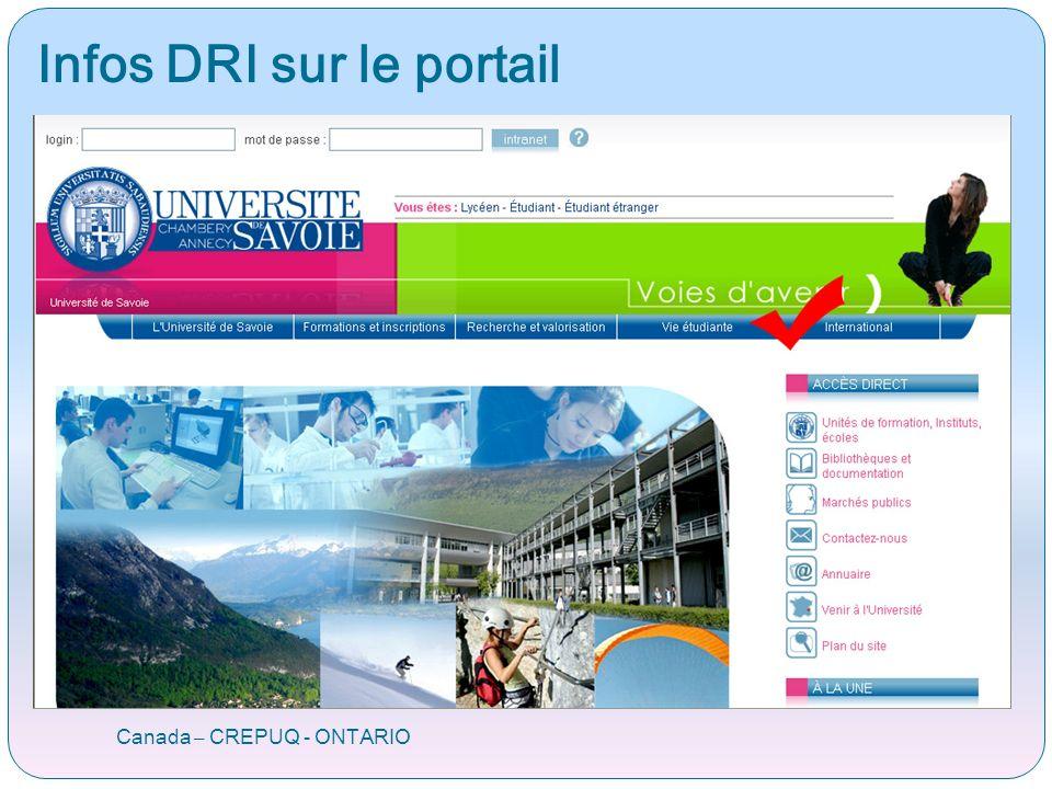 Infos DRI sur le portail Canada – CREPUQ - ONTARIO
