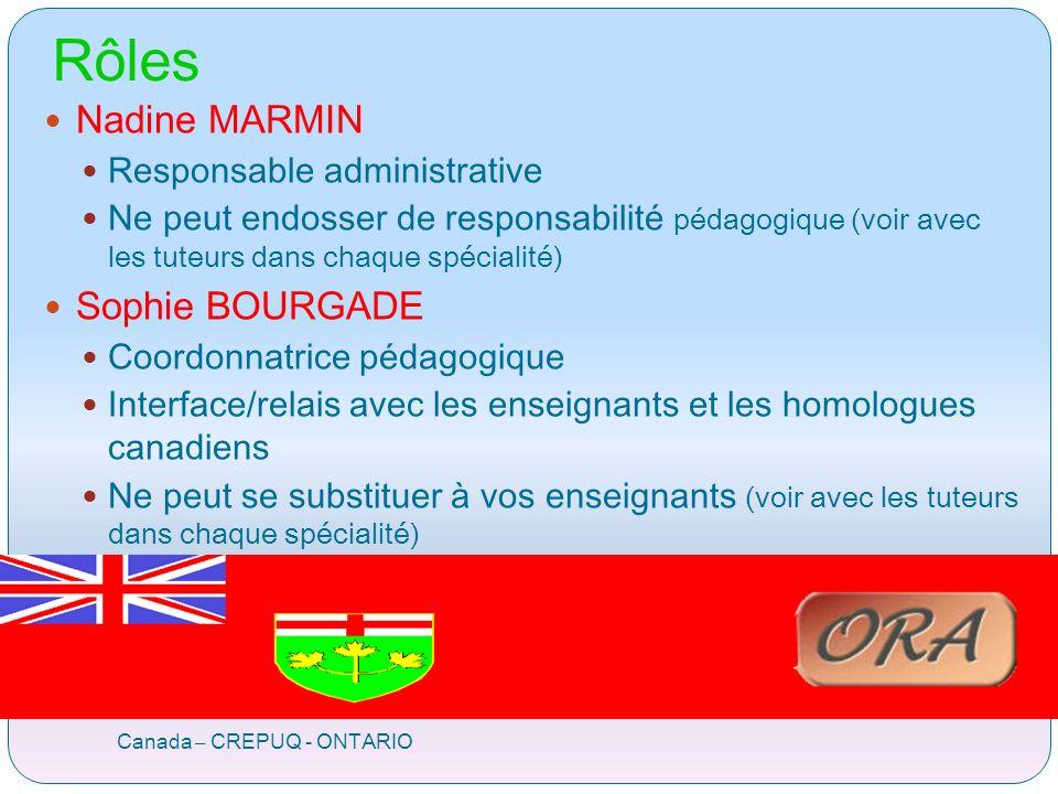 Rôles Canada – CREPUQ - ONTARIO Nadine MARMIN Responsable administrative Ne peut endosser de responsabilité pédagogique (voir avec les tuteurs dans chaque spécialité) Sophie BOURGADE Coordonnatrice pédagogique Interface/relais avec les enseignants et les homologues canadiens Ne peut se substituer à vos enseignants (voir avec les tuteurs dans chaque spécialité)