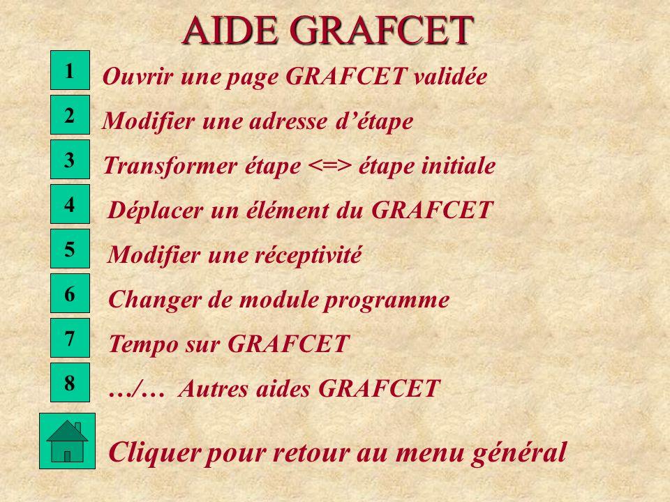 AIDE GRAFCET Cliquer pour retour au menu général 1 2 3 4 5 Ouvrir une page GRAFCET validée Modifier une adresse détape Transformer étape étape initial