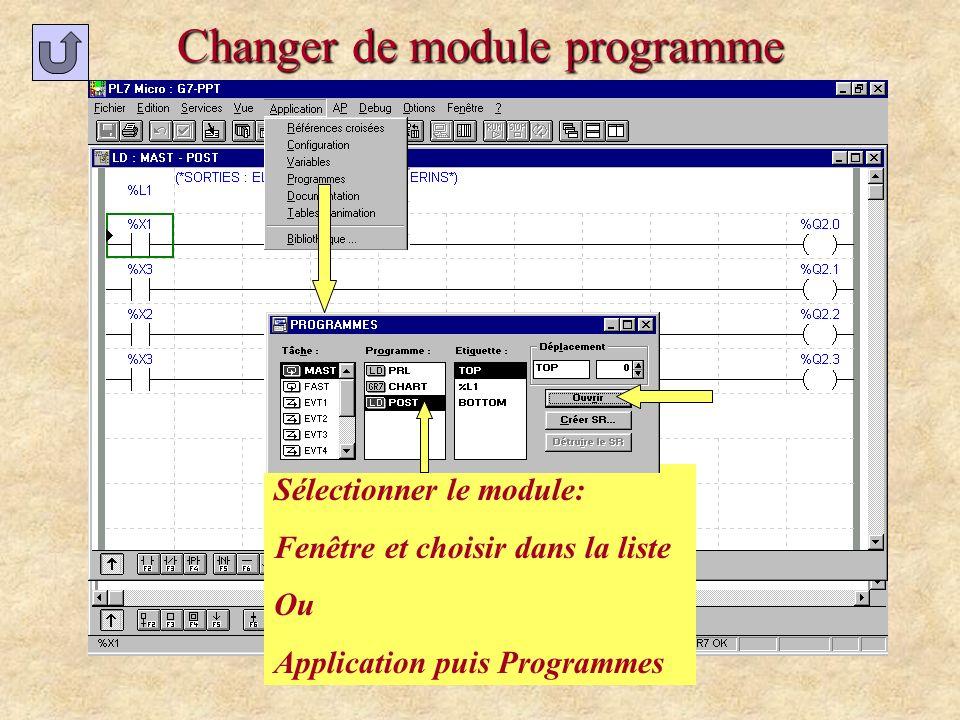 Changer de module programme Sélectionner le module: Fenêtre et choisir dans la liste Ou Application puis Programmes