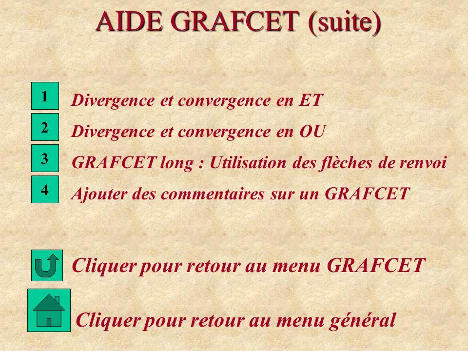 AIDE GRAFCET (suite) 2 Divergence et convergence en OU Cliquer pour retour au menu GRAFCET 1 Divergence et convergence en ET Cliquer pour retour au me