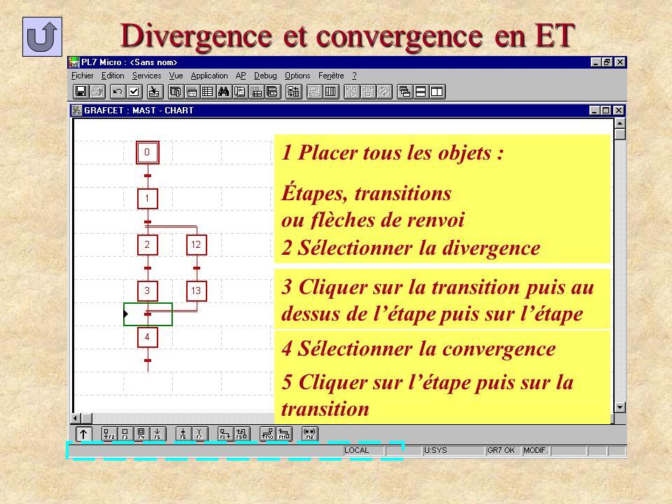 Divergence et convergence en ET 1 Placer tous les objets : Étapes, transitions ou flèches de renvoi 2 Sélectionner la divergence 3 Cliquer sur la tran