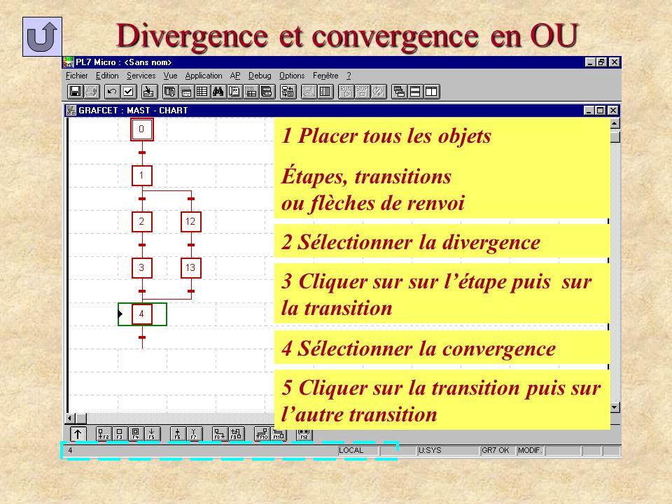 Divergence et convergence en OU 1 Placer tous les objets Étapes, transitions ou flèches de renvoi 2 Sélectionner la divergence 3 Cliquer sur sur létap