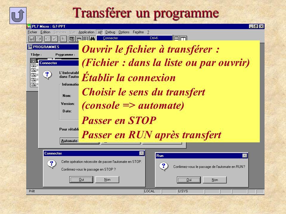 Transférer un programme Ouvrir le fichier à transférer : (dans la liste ou par ouvrir) Établir la connexion Choisir le sens du transfert (console => a