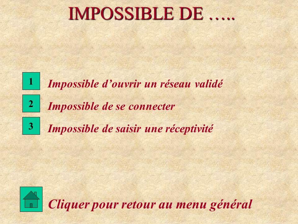 IMPOSSIBLE DE ….. Cliquer pour retour au menu général 3 Impossible de saisir une réceptivité 2 Impossible de se connecter 1 Impossible douvrir un rése