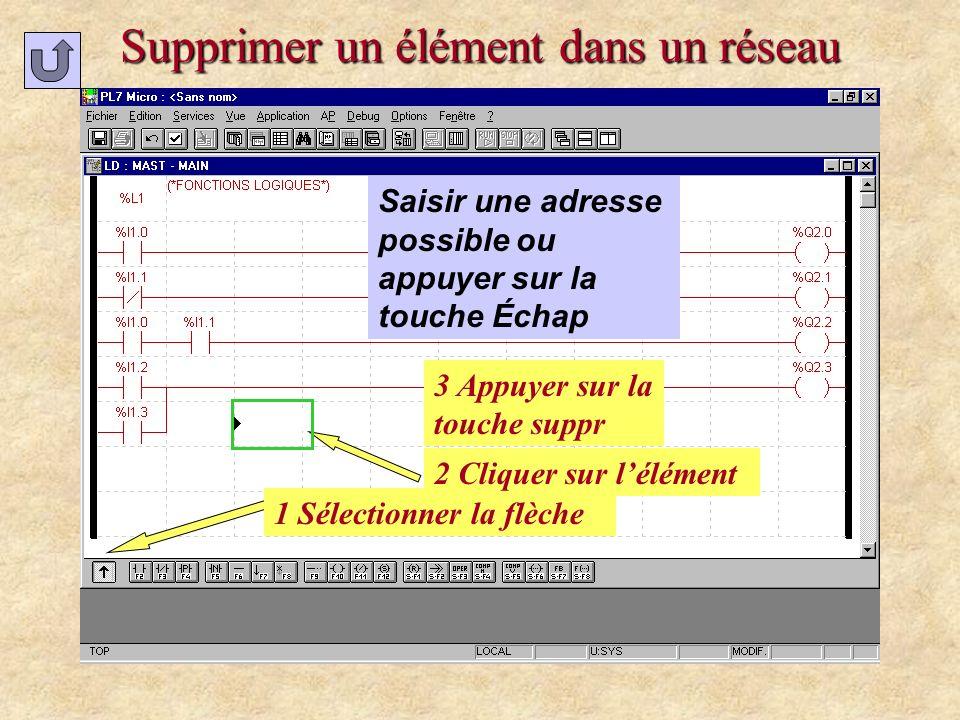 Supprimer un élément dans un réseau 1 Sélectionner la flèche 3 Appuyer sur la touche suppr 2 Cliquer sur lélément Saisir une adresse possible ou appuy