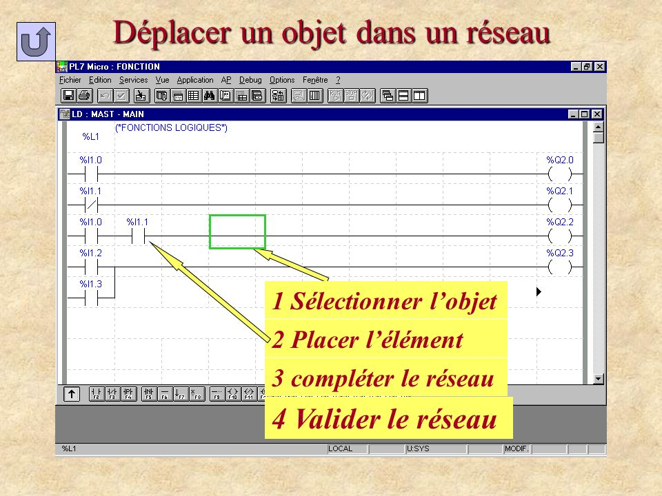 Déplacer un objet dans un réseau 1 Sélectionner lobjet 2 Placer lélément 3 compléter le réseau 4 Valider le réseau
