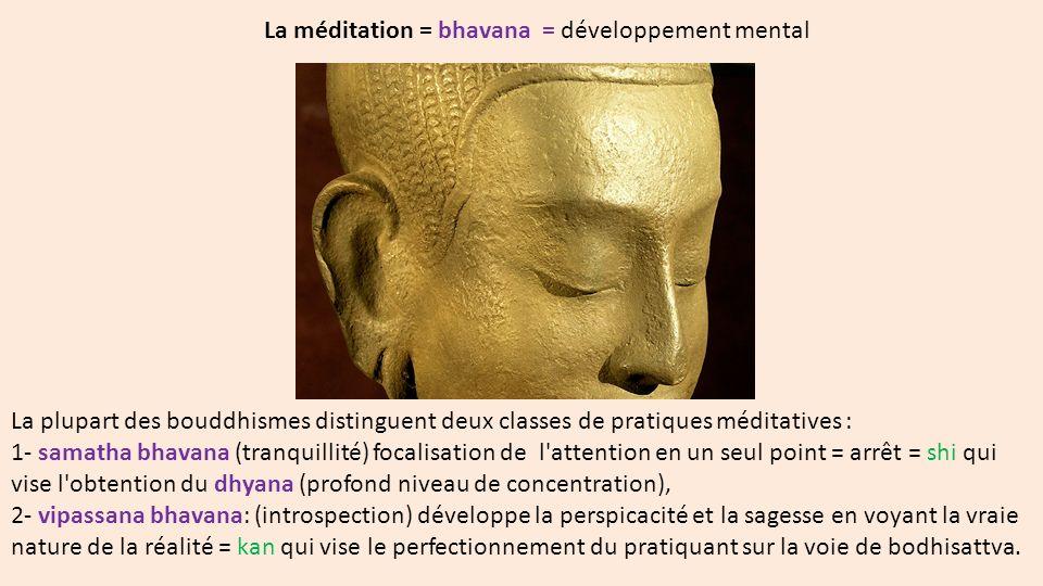 La méditation = bhavana = développement mental La plupart des bouddhismes distinguent deux classes de pratiques méditatives : 1- samatha bhavana (tran