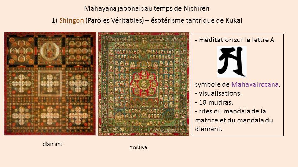 Mahayana japonais au temps de Nichiren 1) Shingon (Paroles Véritables) – ésotérisme tantrique de Kukai - méditation sur la lettre A symbole de Mahavai