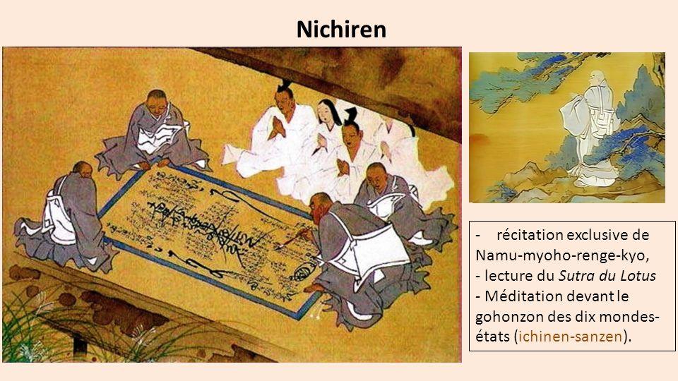 Nichiren -récitation exclusive de Namu-myoho-renge-kyo, - lecture du Sutra du Lotus - Méditation devant le gohonzon des dix mondes- états (ichinen-san