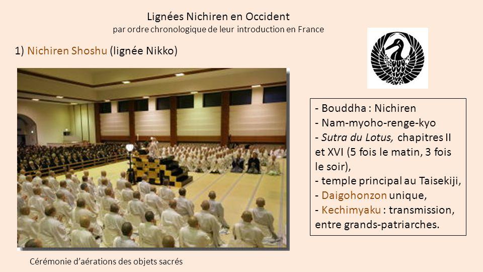 Lignées Nichiren en Occident par ordre chronologique de leur introduction en France 1) Nichiren Shoshu (lignée Nikko) - Bouddha : Nichiren - Nam-myoho