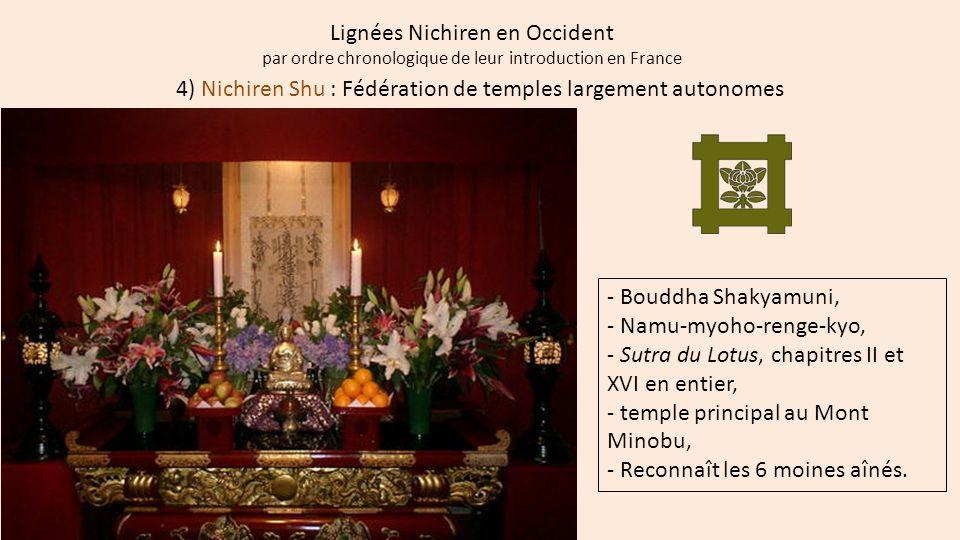 Lignées Nichiren en Occident par ordre chronologique de leur introduction en France 4) Nichiren Shu : Fédération de temples largement autonomes - Boud
