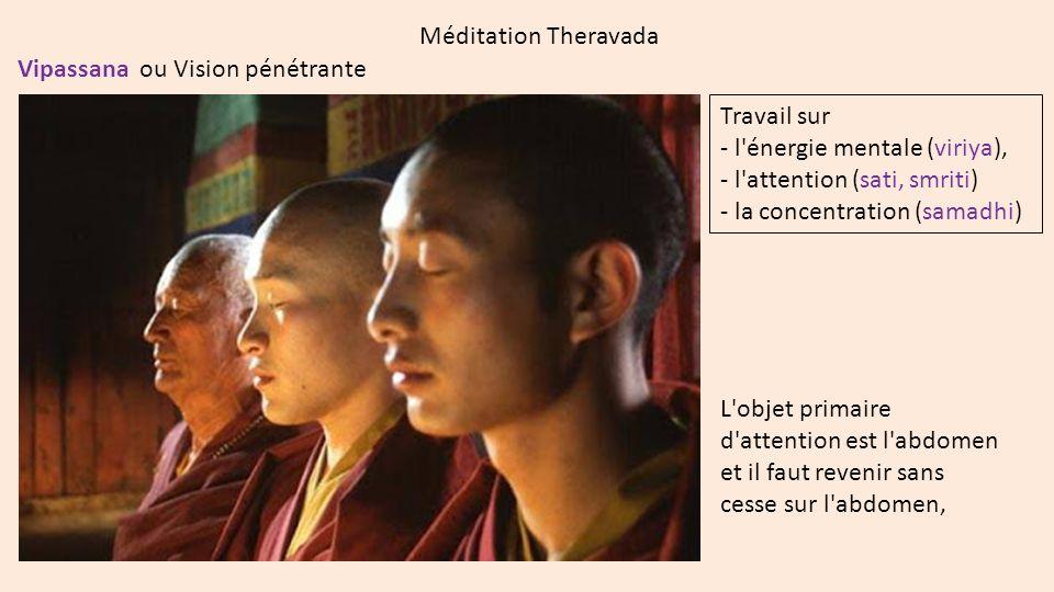 Méditation Theravada Vipassana ou Vision pénétrante L'objet primaire d'attention est l'abdomen et il faut revenir sans cesse sur l'abdomen, Travail su