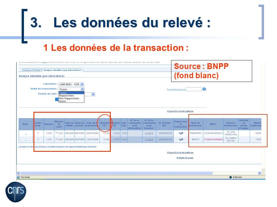 1 Les données de la transaction : 3.Les données du relevé : Source : BNPP (fond blanc)
