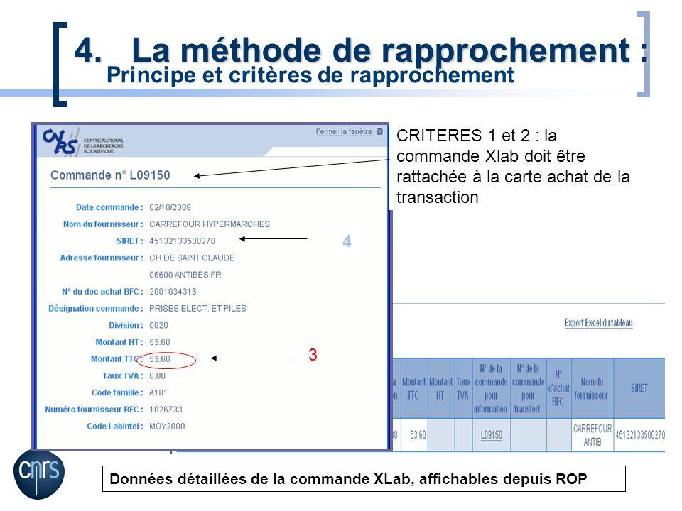 3 4.La méthode de rapprochement : Données détaillées de la commande XLab, affichables depuis ROP CRITERES 1 et 2 : la commande Xlab doit être rattaché