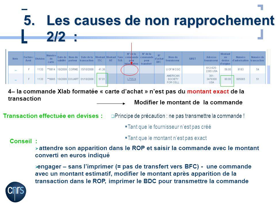 4– la commande Xlab formatée « carte dachat » nest pas du montant exact de la transaction Modifier le montant de la commande Transaction effectuée en
