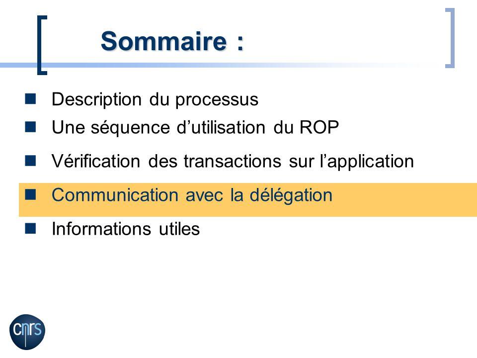 Description du processus Sommaire : Une séquence dutilisation du ROP Vérification des transactions sur lapplication Communication avec la délégation I