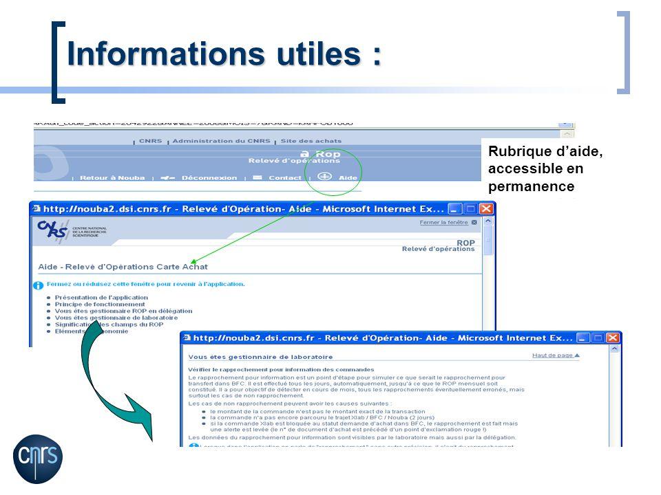 Informations utiles : Rubrique daide, accessible en permanence