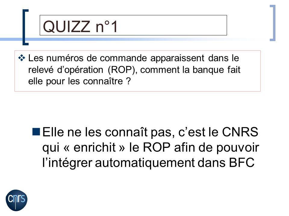 QUIZZ n°1 Elle ne les connaît pas, cest le CNRS qui « enrichit » le ROP afin de pouvoir lintégrer automatiquement dans BFC Les numéros de commande app