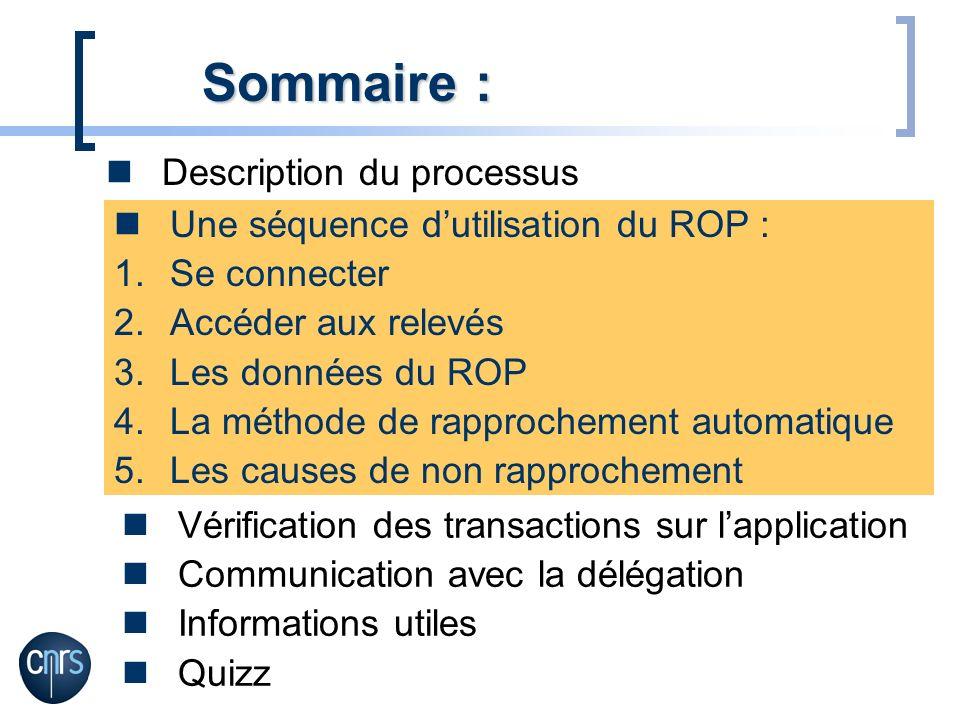 Description du processus Sommaire : Une séquence dutilisation du ROP : 1.Se connecter 2.Accéder aux relevés 3.Les données du ROP 4.La méthode de rappr