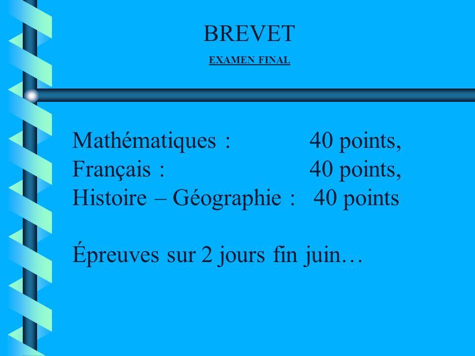 MARDI 29 JUIN : 9 h – 10 h 30 : français 1ère partie 10 h 45 – 12 h 15 :français 2ème partie 14 h 30 – 16 h 30 :mathématiques MERCREDI 30 JUIN : 9 h – 11 h : Histoire-géo Education civique POUR INFO