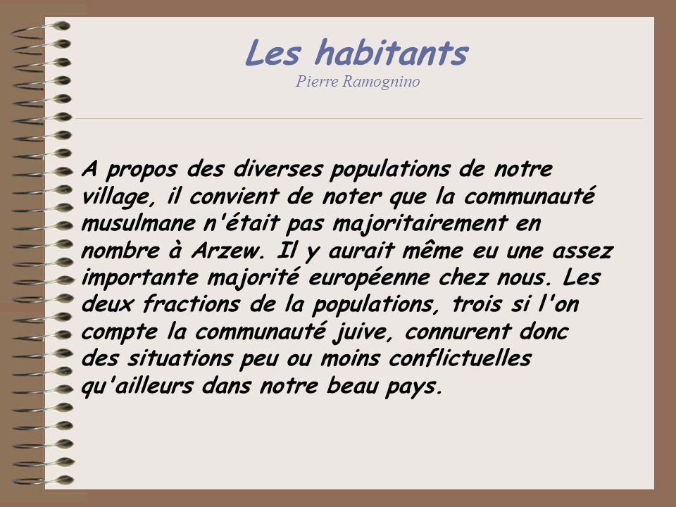 Les habitants Pierre Ramognino A propos des diverses populations de notre village, il convient de noter que la communauté musulmane n'était pas majori