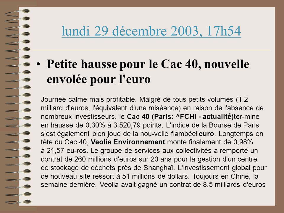 lundi 29 décembre 2003, 17h54 Petite hausse pour le Cac 40, nouvelle envolée pour l euro Journée calme mais profitable.