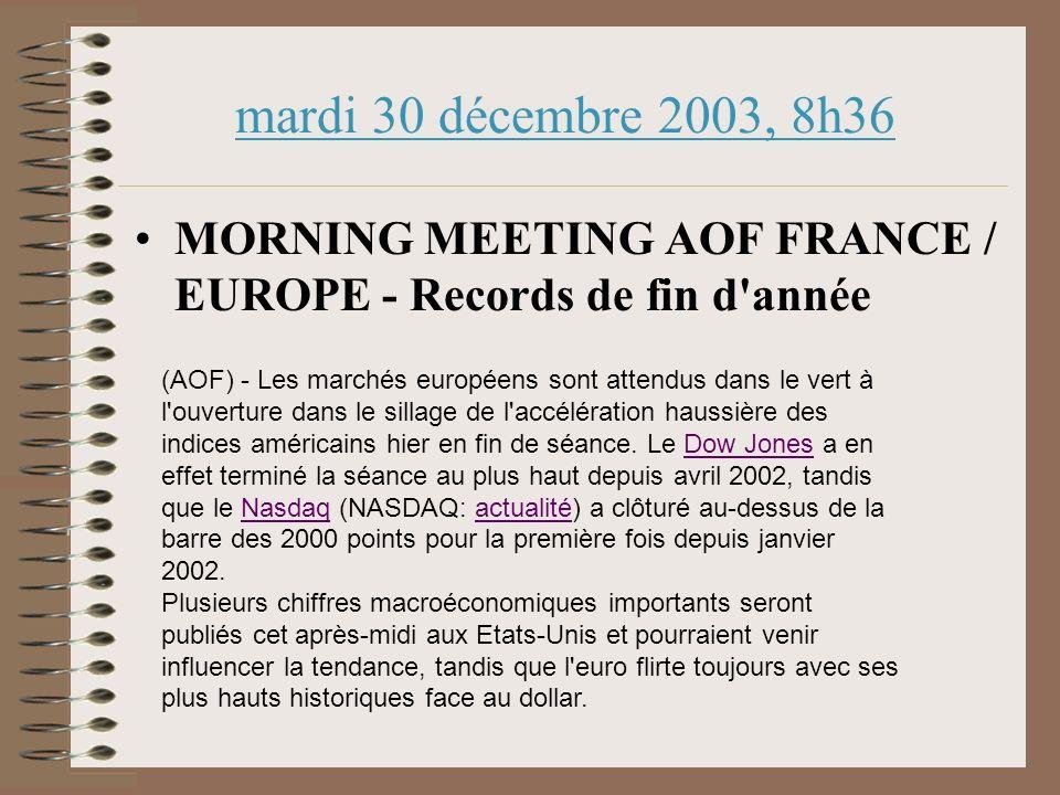 mardi 30 décembre 2003, 8h36 MORNING MEETING AOF FRANCE / EUROPE - Records de fin d année (AOF) - Les marchés européens sont attendus dans le vert à l ouverture dans le sillage de l accélération haussière des indices américains hier en fin de séance.