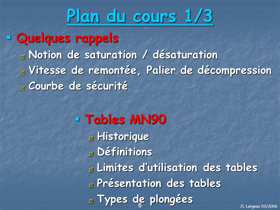 JL Largeau 03/2006 5 Plan du cours 1/3 Quelques rappels Quelques rappels Notion de saturation / désaturation Notion de saturation / désaturation Vites