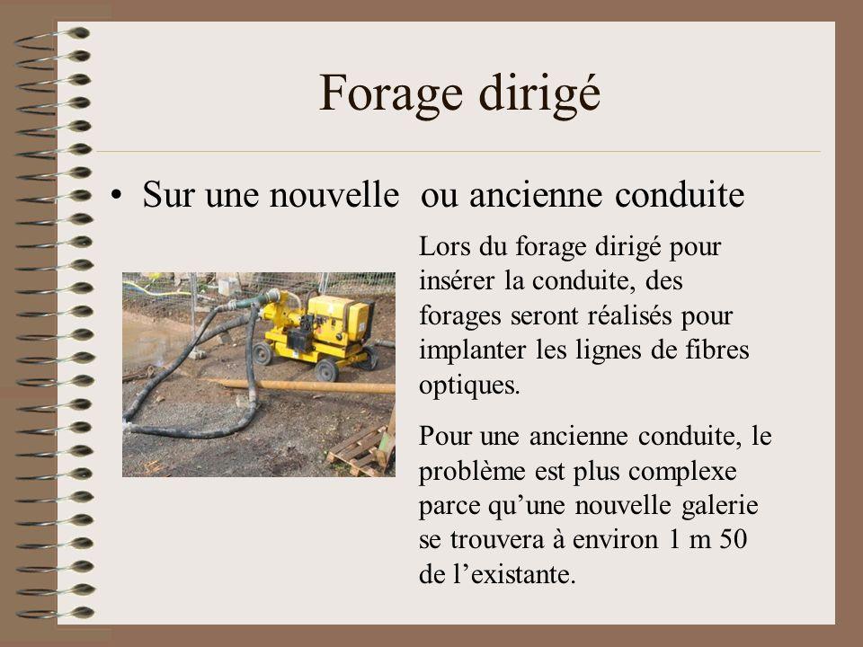 Forage dirigé Sur une nouvelle ou ancienne conduite Lors du forage dirigé pour insérer la conduite, des forages seront réalisés pour implanter les lig