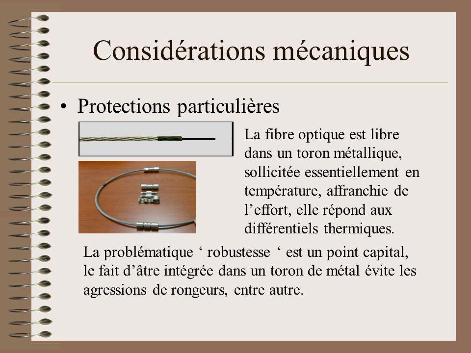 Considérations mécaniques Protections particulières La fibre optique est libre dans un toron métallique, sollicitée essentiellement en température, af