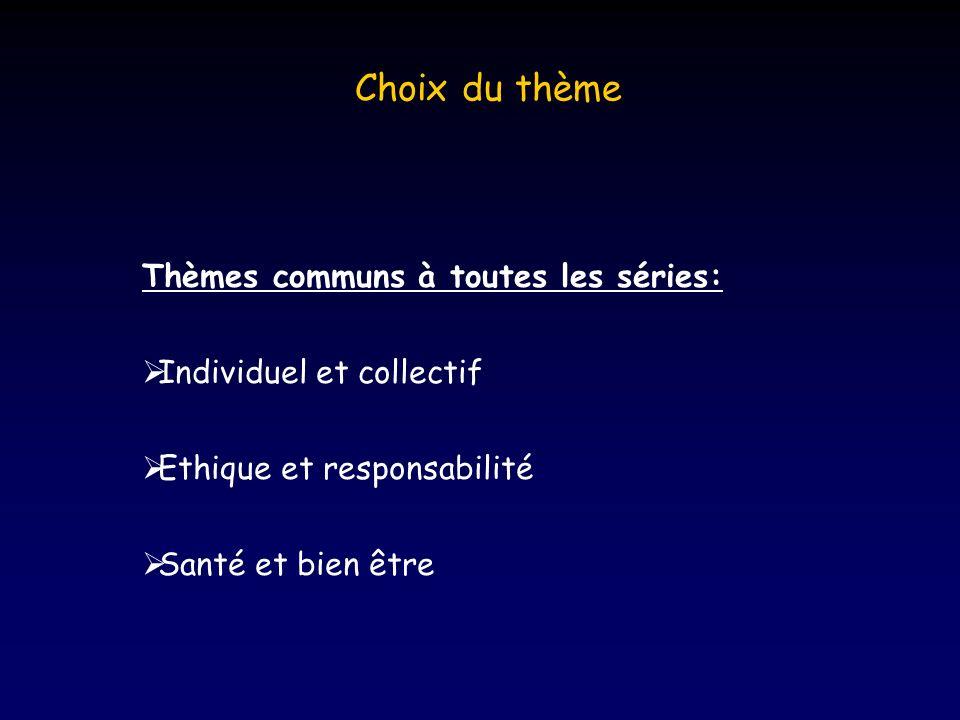 Choix du thème Thèmes communs à toutes les séries: Individuel et collectif Ethique et responsabilité Santé et bien être