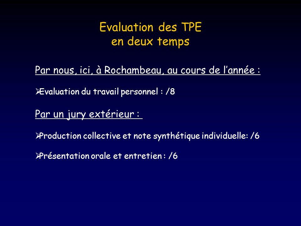 Evaluation des TPE en deux temps Par nous, ici, à Rochambeau, au cours de lannée : Evaluation du travail personnel : /8 Par un jury extérieur : Production collective et note synthétique individuelle: /6 Présentation orale et entretien : /6