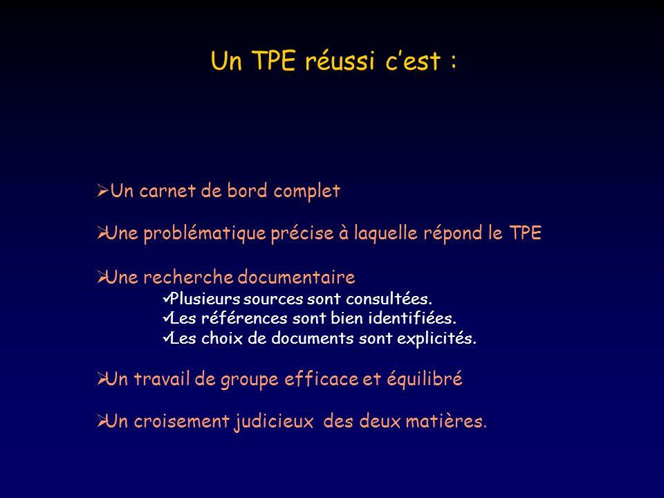 Un carnet de bord complet Une problématique précise à laquelle répond le TPE Une recherche documentaire Plusieurs sources sont consultées.