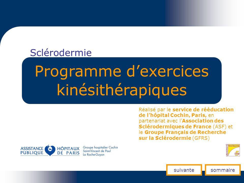 Sclérodermie Programme dexercices kinésithérapiques Réalisé par le service de rééducation de lhôpital Cochin, Paris, en partenariat avec lAssociation
