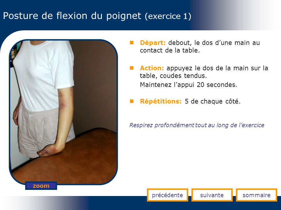 Posture de flexion du poignet (exercice 1) Départ: debout, le dos dune main au contact de la table. Action: appuyez le dos de la main sur la table, co