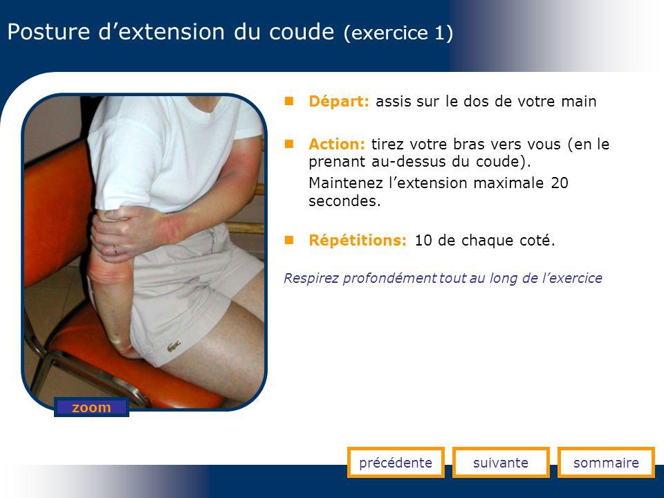 Posture dextension du coude (exercice 1) précédentesuivantesommaire zoom Départ: assis sur le dos de votre main Action: tirez votre bras vers vous (en