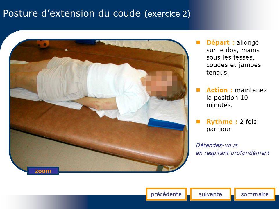 Posture dextension du coude (exercice 2) précédentesuivantesommaire zoom Départ : allongé sur le dos, mains sous les fesses, coudes et jambes tendus.