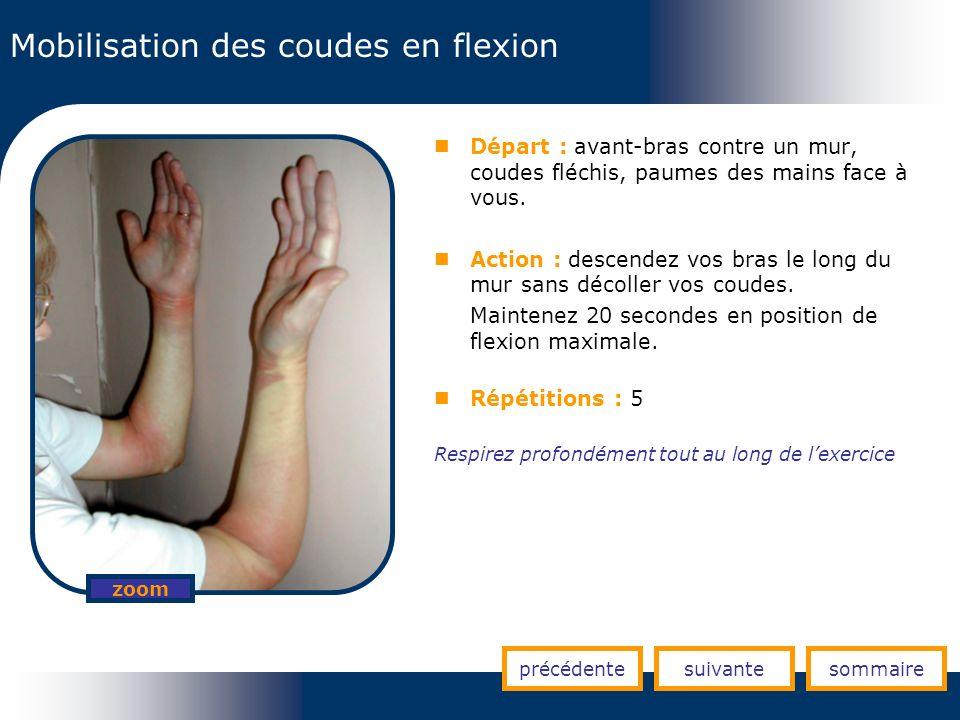 Mobilisation des coudes en flexion précédentesuivantesommaire zoom Départ : avant-bras contre un mur, coudes fléchis, paumes des mains face à vous. Ac
