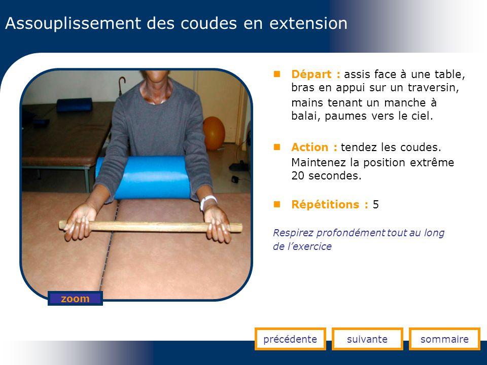 Assouplissement des coudes en extension précédentesuivantesommaire zoom Départ : assis face à une table, bras en appui sur un traversin, mains tenant
