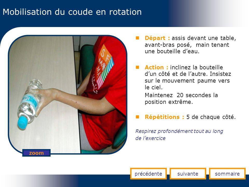 Mobilisation du coude en rotation précédentesuivantesommaire zoom Départ : assis devant une table, avant-bras posé, main tenant une bouteille deau. Ac